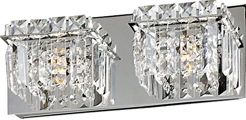 ET2 E23252-20PC Bangle 2-Light Bath Vanity, Polished Chrome Finish, Crystal Glass, G9 Xenon Bulb, 159W Max., Dry Safety Rated, 2900K Color Temp., Electronic Low Voltage ELV Dimmable, Glass Shade Material, 320 Rated Lumens