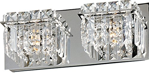 ET2 E23252-20PC Bangle 2-Light Bath Vanity, Polished Chrome Finish, Crystal Glass, G9 Xenon Bulb, 159W Max., Dry Safety Rated, 2900K Color Temp., Electronic Low Voltage (ELV) Dimmable, Glass Shade Material, 320 Rated Lumens ()
