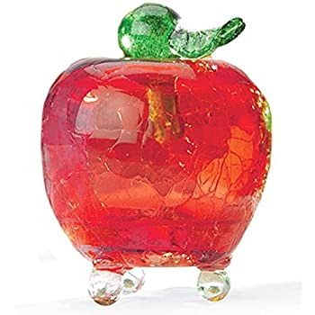 Handmade Crackle Glass Apple Fruit Fly Trap, In Red