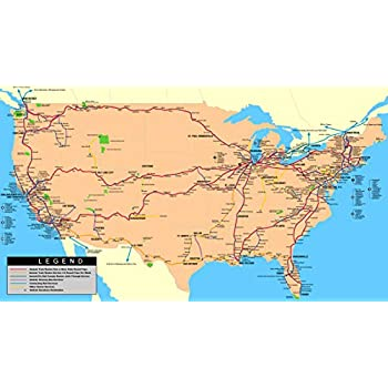 Amazon Com Home Comforts Laminated Map Map Amtrak Us Rail System