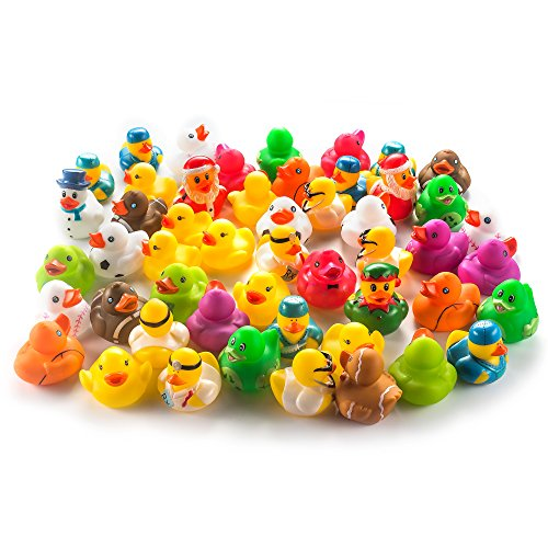 Rubber Duckies Measure - Fun Central AY771 50ct 2 Inch Rubber Ducks Toy Bulk, Miniature Rubber Ducks, Rubber Ducky, Rubber Duck Baby Shower, Rubber Duck Pool, Rubber Duck Party Supplies and Favors