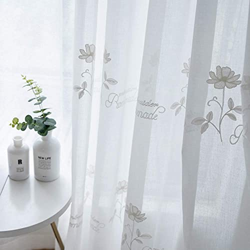 KMSG White Sheer Wedding Curtains Linen Like Semi Sheer Floral and Letters Pattern Embroidered Window Drapes for Living Room Rod Pocket Retro Voile Drapes for Girls Room Kitchen 1 Pair W75xL96 inches