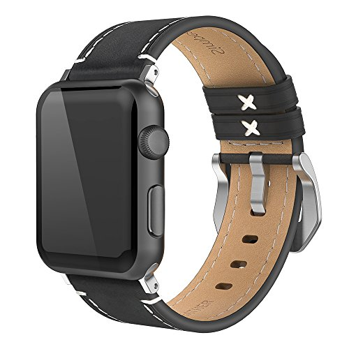 Simpeak Wristband for Apple Watch 42mm, Genuine Leather iWatch Strap for Apple Watch Series 3 2 1 Sport and Edition,Black ()