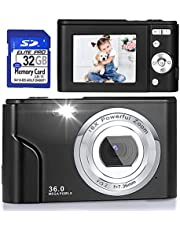 $53 » Digital Camera, FHD 1080P 36.0 MP Vlogging Camera Rechargeable Mini Camera Kids Camera Pocket Camera with 32GB SD Card 16X Digital Zoom, Compact Portable Camera for Kids Students Teenager-Black