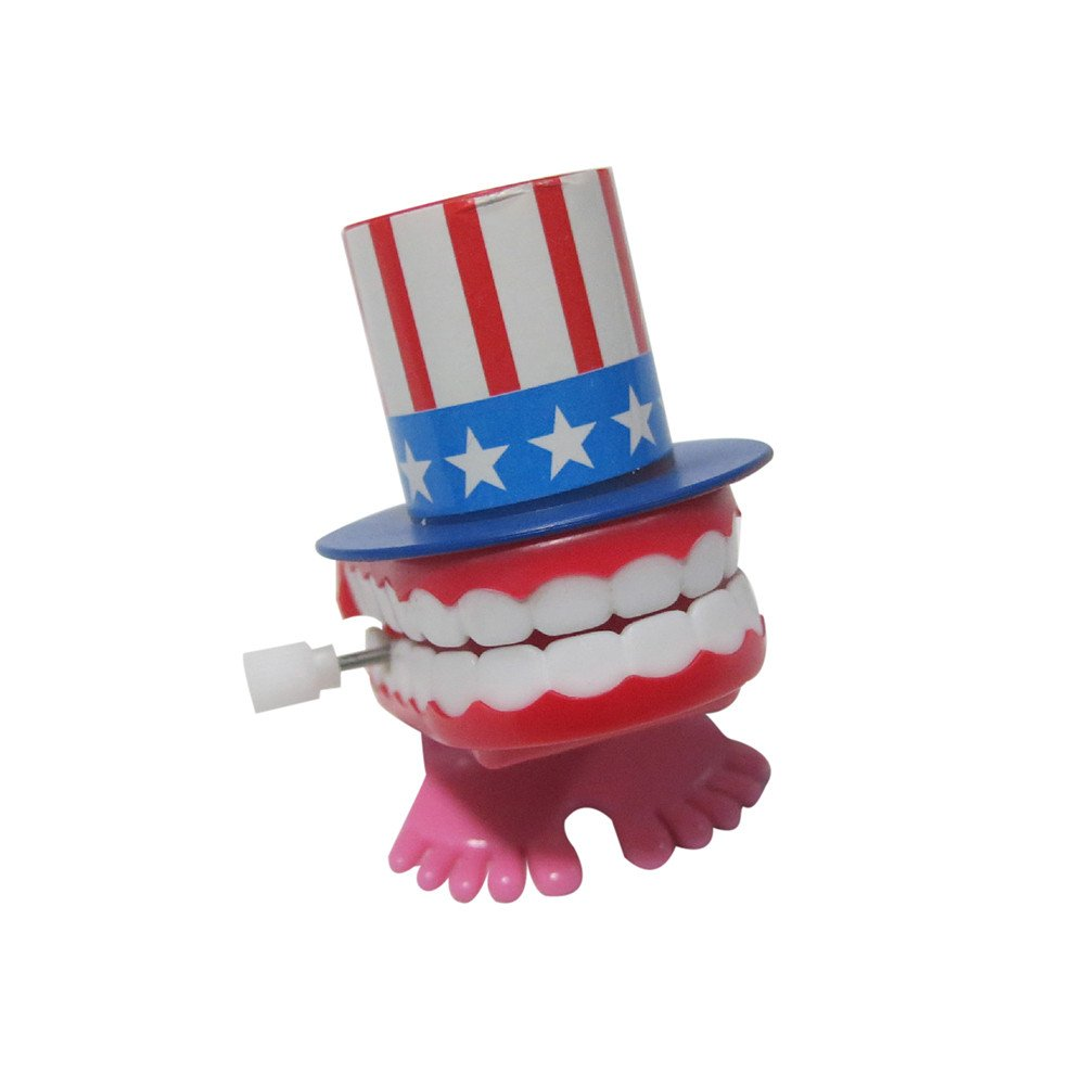 Livoty American Flag Wind-up Walking Babbling Teeth Denture Chattering Funny Teeth For Independence Day Party (Colorful)