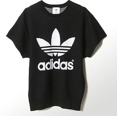 Adidas – jerséi – Col rond – Femme, HY SSL Knit, Noir / blanc