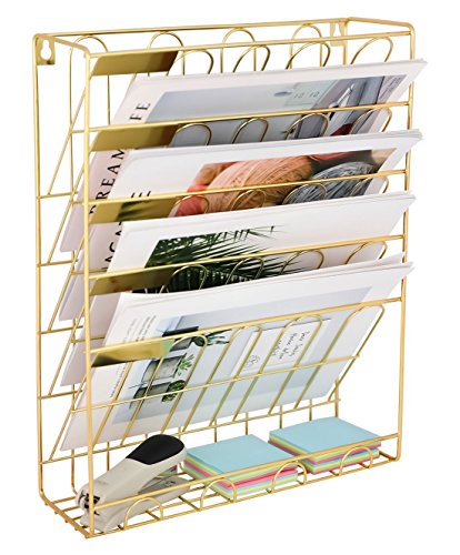 (Superbpag Hanging Wall File Organizer, 5 Slot Wire Metal Wall Mounted Document Holder for Office Home, Gold)