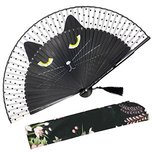 OMyTea''Sexy Cat'' Folding Hand Held Fan for Women - With a Fabric Sleeve for Protection - Chinese/Japanese Vintage Retro Style for Wedding, Dancing, Church, Party, Gifts (Black) by OMyTea