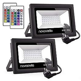 2er RGB 60W LED Strahler mit Fernbedienung, IP66, 16 Farben, 4 Dimmstufen