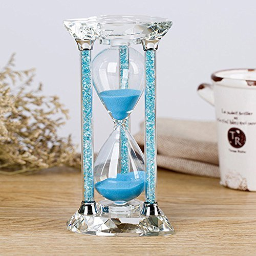Borway 30 Minute Hourglass Timer, Heart Shaped Sand Timer with Sparkling Pillars, Eye-Catchy Blue Sands Clock for Home Kitchen Office Décor Christmas Gift (30 Min, Blue,1 ()