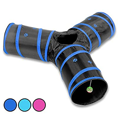 Prosper Pet Cat Tunnel - Collapsible 3 Way Play Toy - Tube Fun for Rabbits, Kittens, and Dogs by MB Lifestyle
