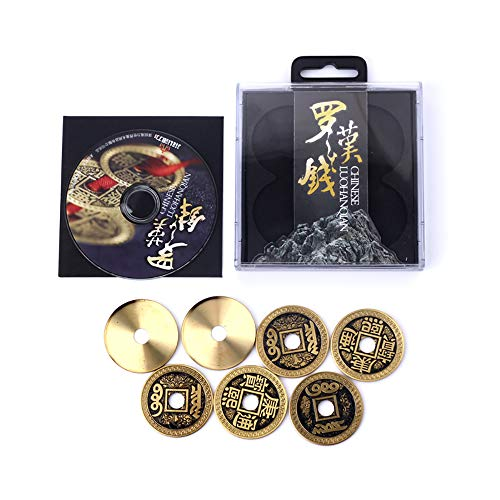 Enjoyer Coin Magic-Chinese LuohanQian Deluxe Chinese Ancient Coin Set Magic Tricks Appearing/Vanishing Close Up Magic Gimmick Magician Accessories (Morgan Coin Size 38MM)
