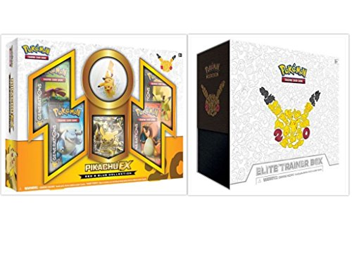 Pokemon TCG Generations Elite Trainer Box and Pikachu EX Red and Blue Collection Box Bundle, 1 of Each