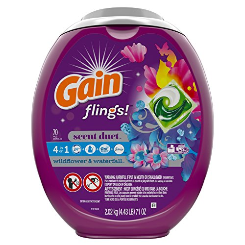 (Gain flings! Scent Duet Laundry Detergent Pacs, Wildflower & Waterfall Scent, HE Compatible, 70 Count (Packaging May Vary))