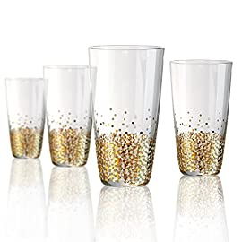 Artland Ambrosia Flute 5 oz (Set of 4), Gold/Silver 1 Dimensions: 3.75D x 8.75H in. Set of 4 goblets Handmade of glass