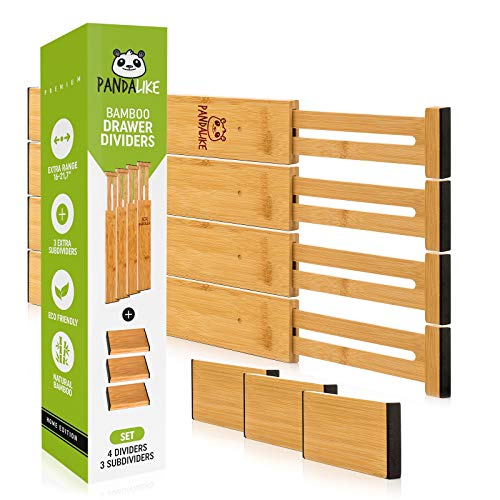 Bamboo Drawer Dividers – Kitchen Drawer Organizer with 4 Expandable Separators & 3 Inserts for Customizable Storage…