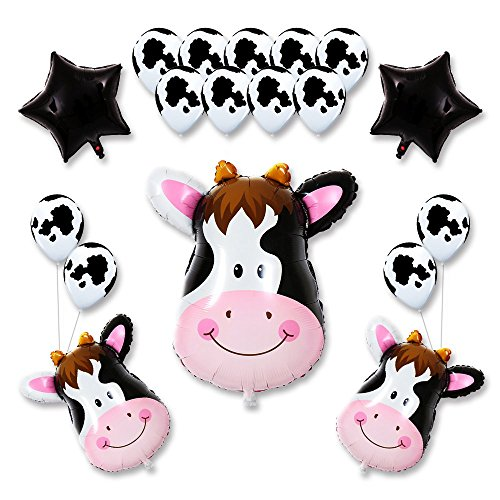 18Pack Kids Birthday Party Decorations 30inch Cow Balloon 12inch Latex Balloons for Farm Animal Theme Party Kid Birthday Party Favors (cow)