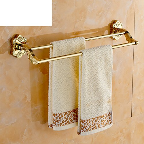 european gold engraved double towel rack bathroom copper gold plated