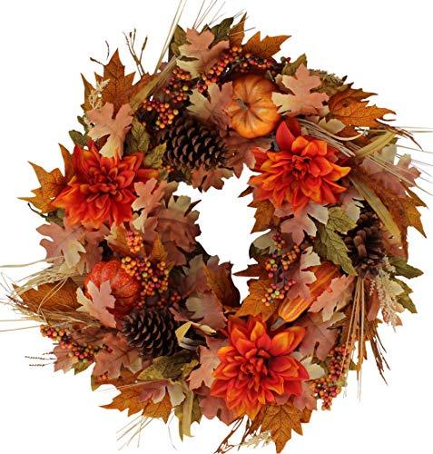 The Wreath Depot Oakwood Silk Fall Door Wreath, 22 Inches