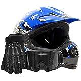 Youth Offroad Gear Combo Helmet Gloves Goggles DOT Motocross ATV Dirt Bike MX Motorcycle Blue Black, Large