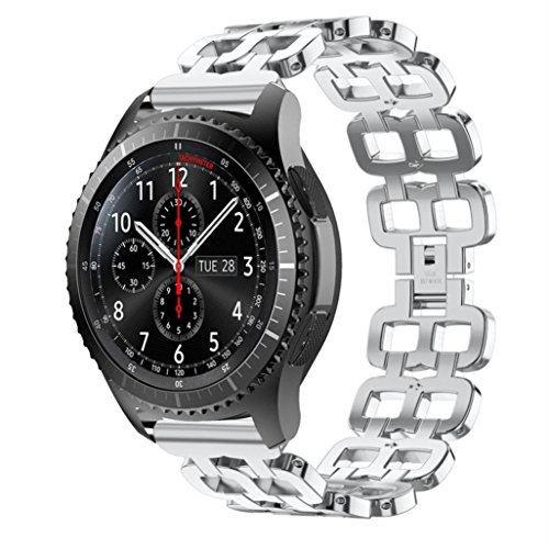 Price comparison product image Boofab For Samsung Gear S3 Band,  22MM Premium Solid Stainless Steel Watch Band Replacement Buckle Metal Strap Wrist Band for Gear S3 Classic / Frontier Smart WatchBand (Silver)