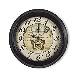 Adeco CK0088 18~19 Large Black & Brown Antique-Look Dial Butterfly Decorative Retro Vintage Traditional Wall Hanging Circle Iron Clock, Arab Numerals Numbers, Silent Battery Quartz, Home Office Decor, Black