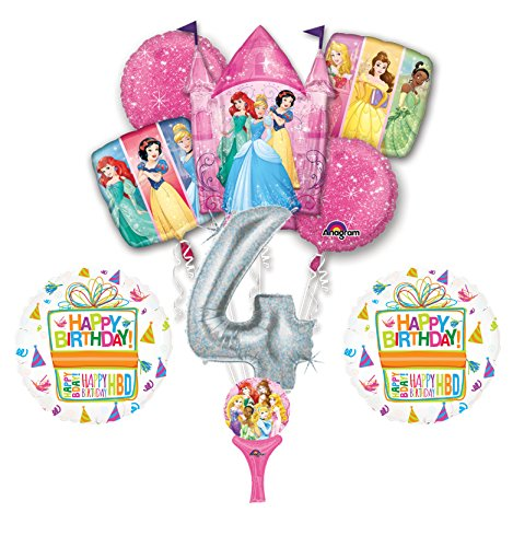 New! 9pc Disney Princess 4th BIRTHDAY PARTY Balloons Decorations Supplies]()
