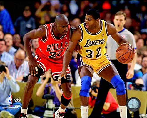 "Magic Johnson & Michael Jordan NBA Action Photo (Size: 11"" x 14"")"