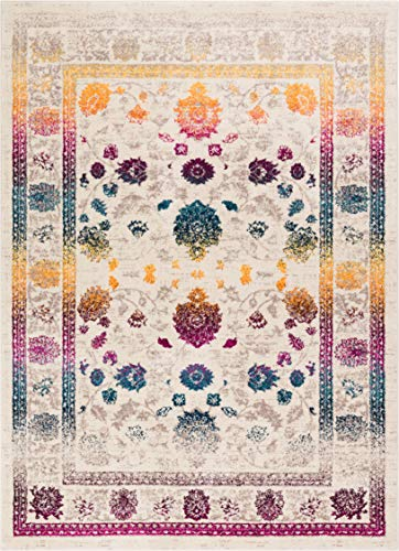- Well Woven Hebe Vintage Distressed Floral Color Wave Bright Mult Striation Color Oriental 5x7 (5'3
