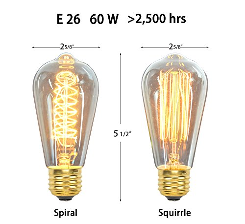 Vintage Edison Bulbs (12 Pack, 7 Squirrel Cage Filament Bulbs , 5 Spiral Filament Bulbs), 60W, ST64, E26, Squirrel Cage, Dimmable,Clear Glass, Industrial Vintage Bulbs by Youngever Home (Image #1)