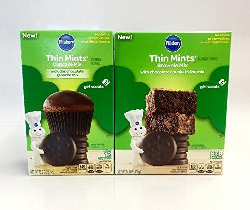 Pillsbury Thin Mints Girl Scouts Brownie Mix and Cupcake Mix Bundle