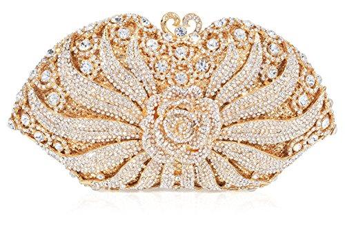 Luxury Crystal Clutch for Women 3D Flower Rhinestone Evening ()