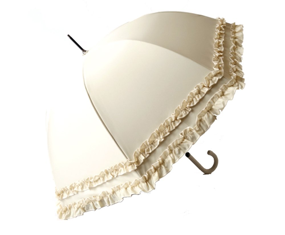 クラシコ 日本製生地 完全遮光100% 遮光100% 晴雨兼用 日傘 uvカット 100% 遮光 ラミネート 傘 1級遮光 レディース ミドル 55cm レザーハンドル ダブルフリル B076HK75WT 03 ベージュ 03 ベージュ