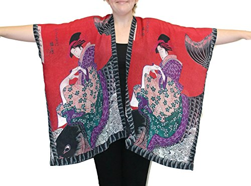 Cocoon-House Women's Koi Silk Hand Painted Long Kimono Jacket Oversized One Size Plus (Red) (Hand Painted Silk Jackets)