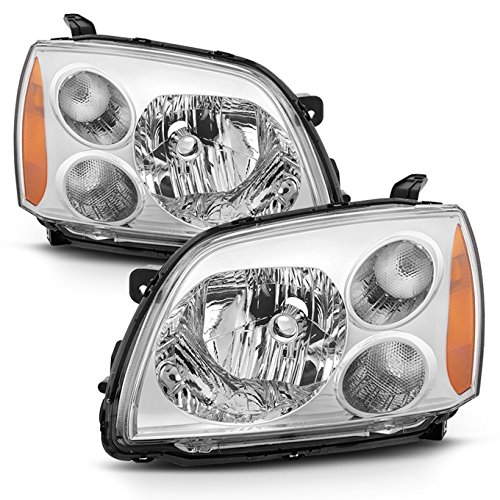 Fits 2004-2012 Mitsubishi Galant Chrome Halogen Type (No W/Projector) Headlights Lamps Left+Right ()