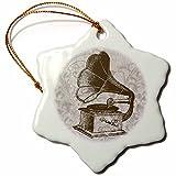 3dRose orn_108654_1 Vintage Record Player-Antiques-Snowflake Ornament, Porcelain, 3-Inch