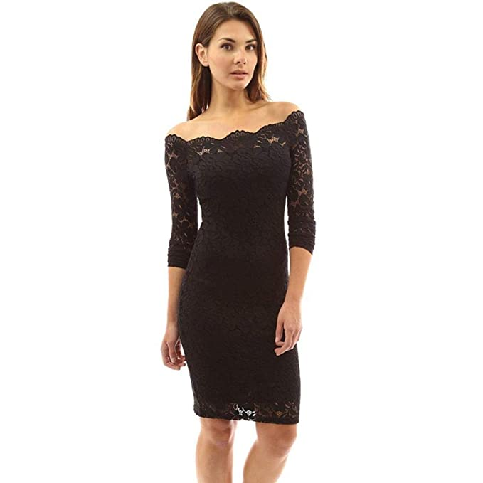9e5b16b1c110 OUDIYA Women Casual Off Shoulder Long Sleeve Hollow Out Floral Lace Slim Dress  Dresses Black