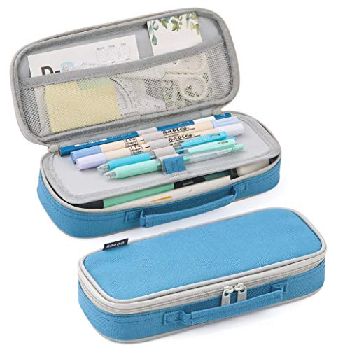EASTHILL Pencil Case Medium Capacity Pencil Bag Cute Pencil Pouch with Zippers Stationery Organizer Storage Office School Gift for College Student Teen Girl Women Adult -Blue