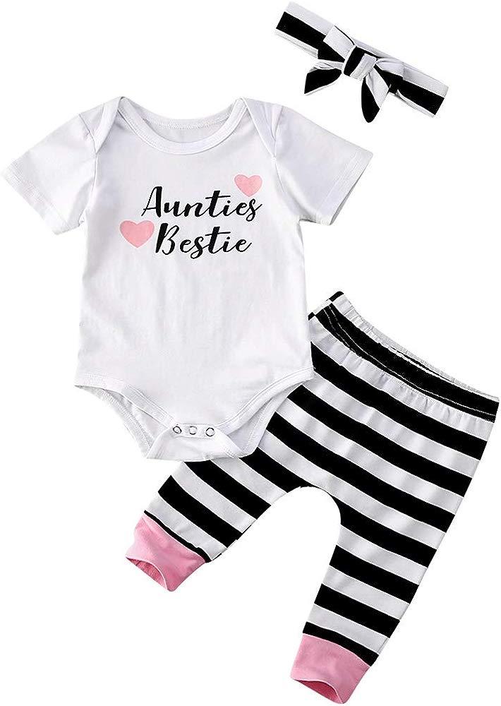 MAINESAKA Newborn Baby Girls Outfit Aunties Bestie Romper Floral Pants Set