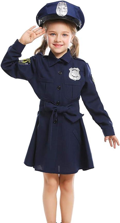A&J DESIGN Disfraz Policía Niña Vestido Manga Larga con Gorra ...