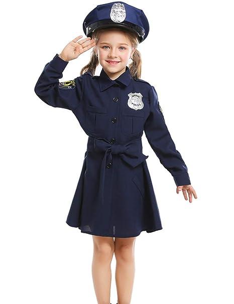 A&J DESIGN Disfraz Policía Niña Vestido Manga Larga con ...