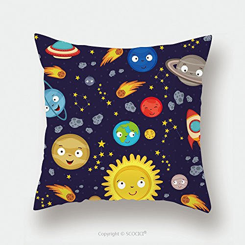 Custom Satin Pillowcase Protector Seamless Pattern Cute Solar System Vector Illustration Eps 546983359 Pillow Case Covers Decorative by chaoran