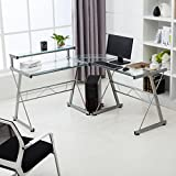 Mecor L-Shape Corner Computer Desk Glass Laptop Table Workstation Home Office Furniture Clear
