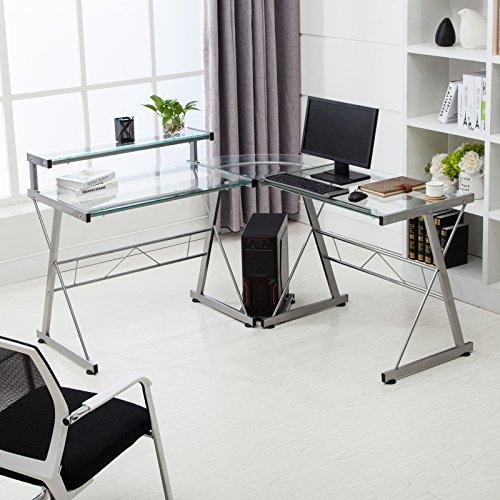 Mecor L-Shape Corner Computer Desk Glass Laptop Table Workstation Home Office Furniture Clear - Glass Laptop Desk