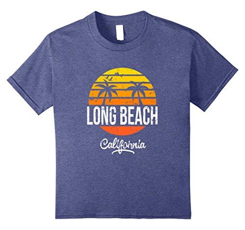 Beach Kids T-shirt (Kids Long Beach California Vintage T Shirt Retro Beach Style 10 Heather Blue)