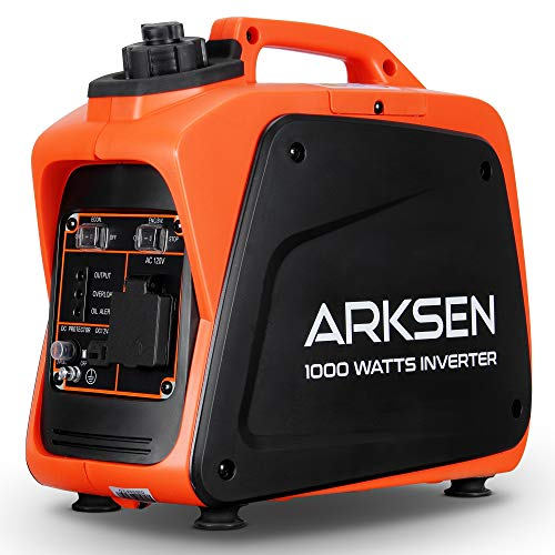 ARKSEN 1000W Super Quiet Portable Gas-Powered Inverter Generator with 120V AC Outlet, 5V USB Port, 12V CAR DC Outlet CARB EPA Compliant (1000W)