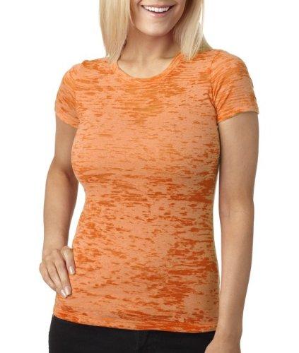 Next Level Baby Rib-Knit Crewneck Burnout Jersey T-Shirt, M, NEON ORANGE