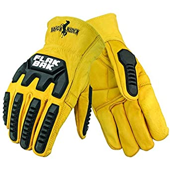 Gold Galeton 12536-XL Rough Rider FlakBakImpact Protection Premium Leather Driver Gloves X-Large