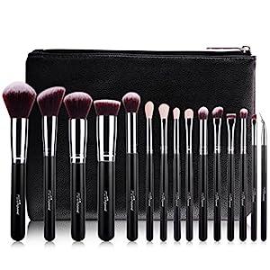 MSQ Makeup Brushes Set Professional 15PCS Cosmetic Brushes Soft Natural Goat Hair Synthetic Hair Kabuki Powder Brush