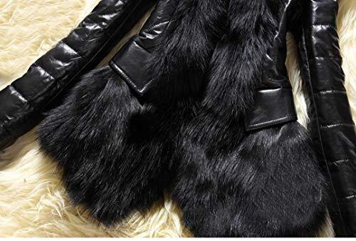 Overdose Venta Invierno De Mejor Parka Gruesa Cuero Abrigo Overcoat Del Negro Chaqueta Mujer Diseñador Piel Cálido Cuello rtOBRrYn